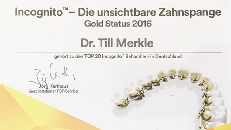Unsere Auszeichnung zu den TOP 30 Incognito Behandlern in ganz Deutschland!