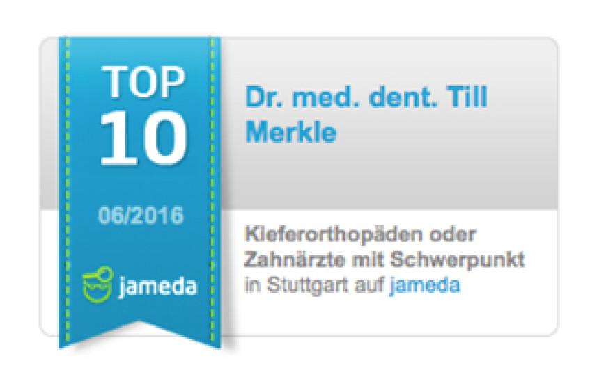 Auszeichnung: Wieder unter den Top 10 aller Kieferorthopäden in Stuttgart
